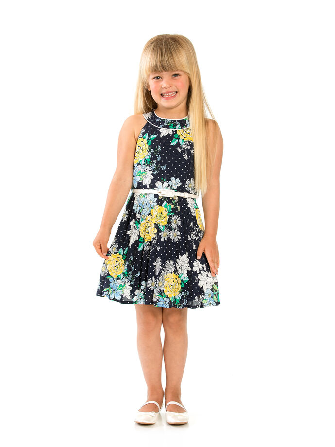 3-7 Girls Floral Sunray Pleat Dress