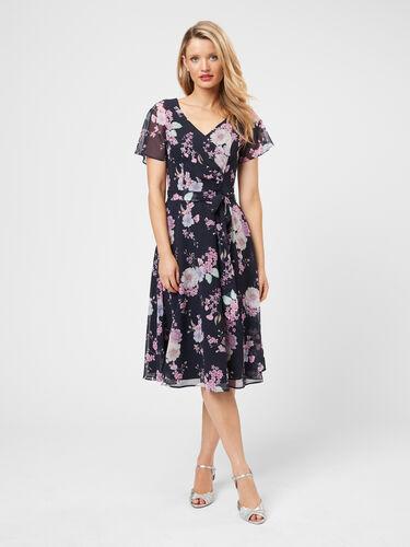 Violet Blossom Midi Dress