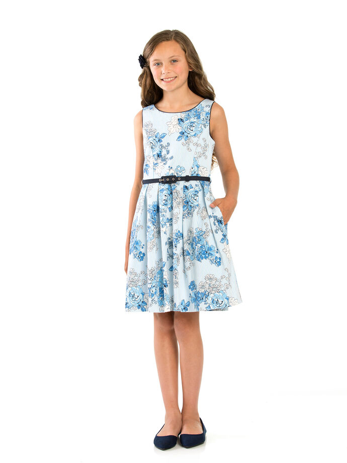 8-14 Girls Floral Dobby Prom Dress