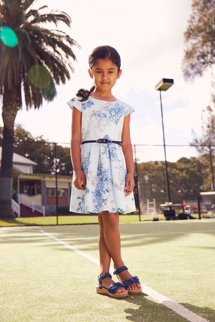 3-7 Girls Floral Pleat Dobby Dress