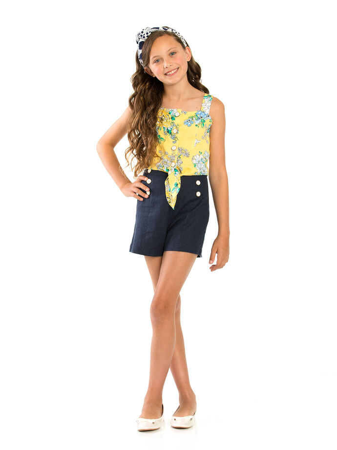842b9a45480b 8-14 Girls Review Printed Tie Front Blouse