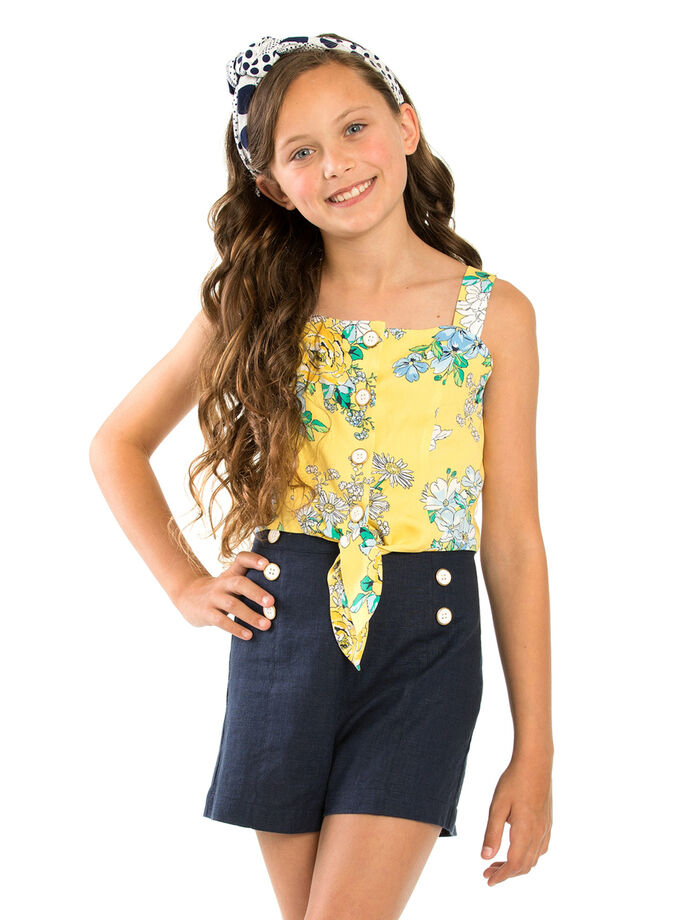 8-14 Girls Review High Waisted Sailor Shorts