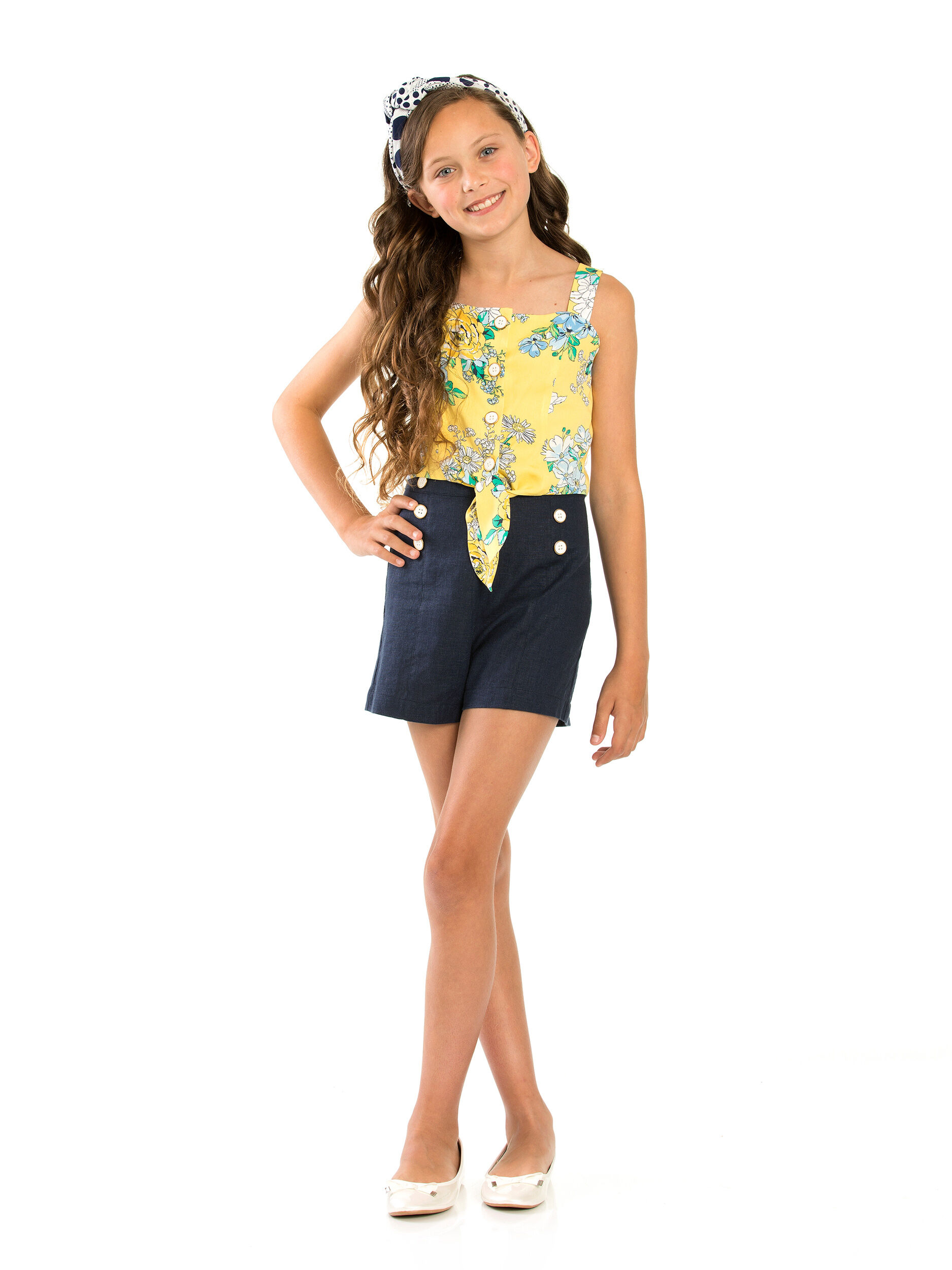 8-14 Girls Printed Tie Front Blouse