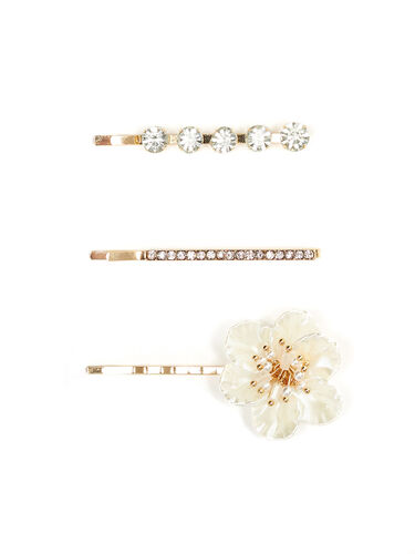 Pearl Flower Clips