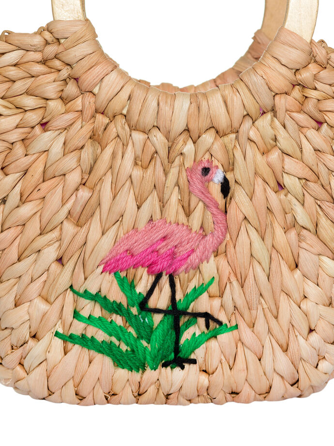 Fancy Flamingo Wicker Bag