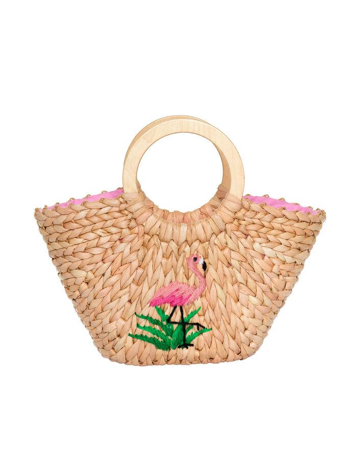 Fancy Flamingo Wicker Bag