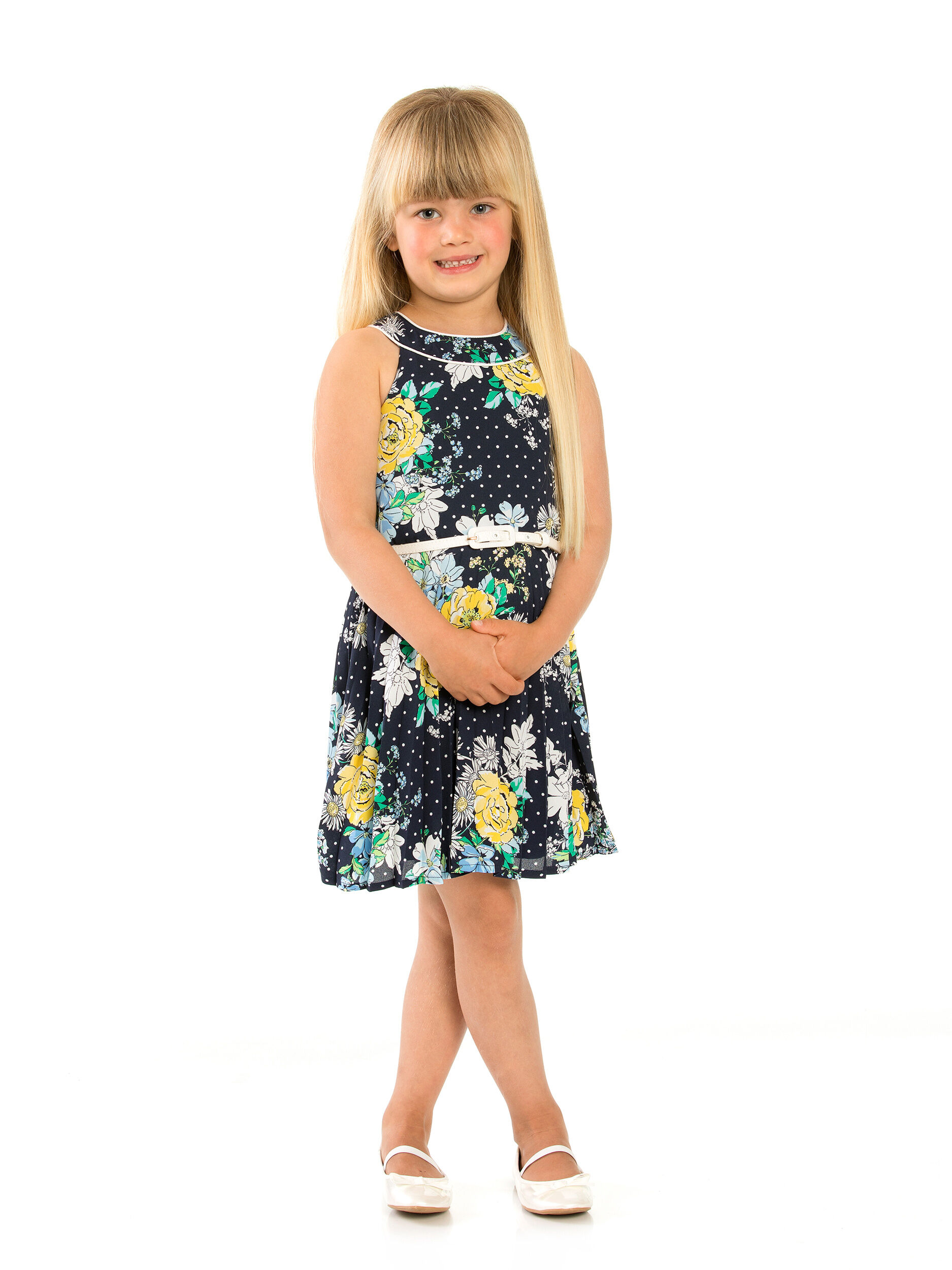 3-7 Girls Review Floral Sunray Pleat Dress