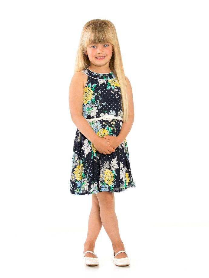 3-7 Girls Floral Sunray Pleat Dress