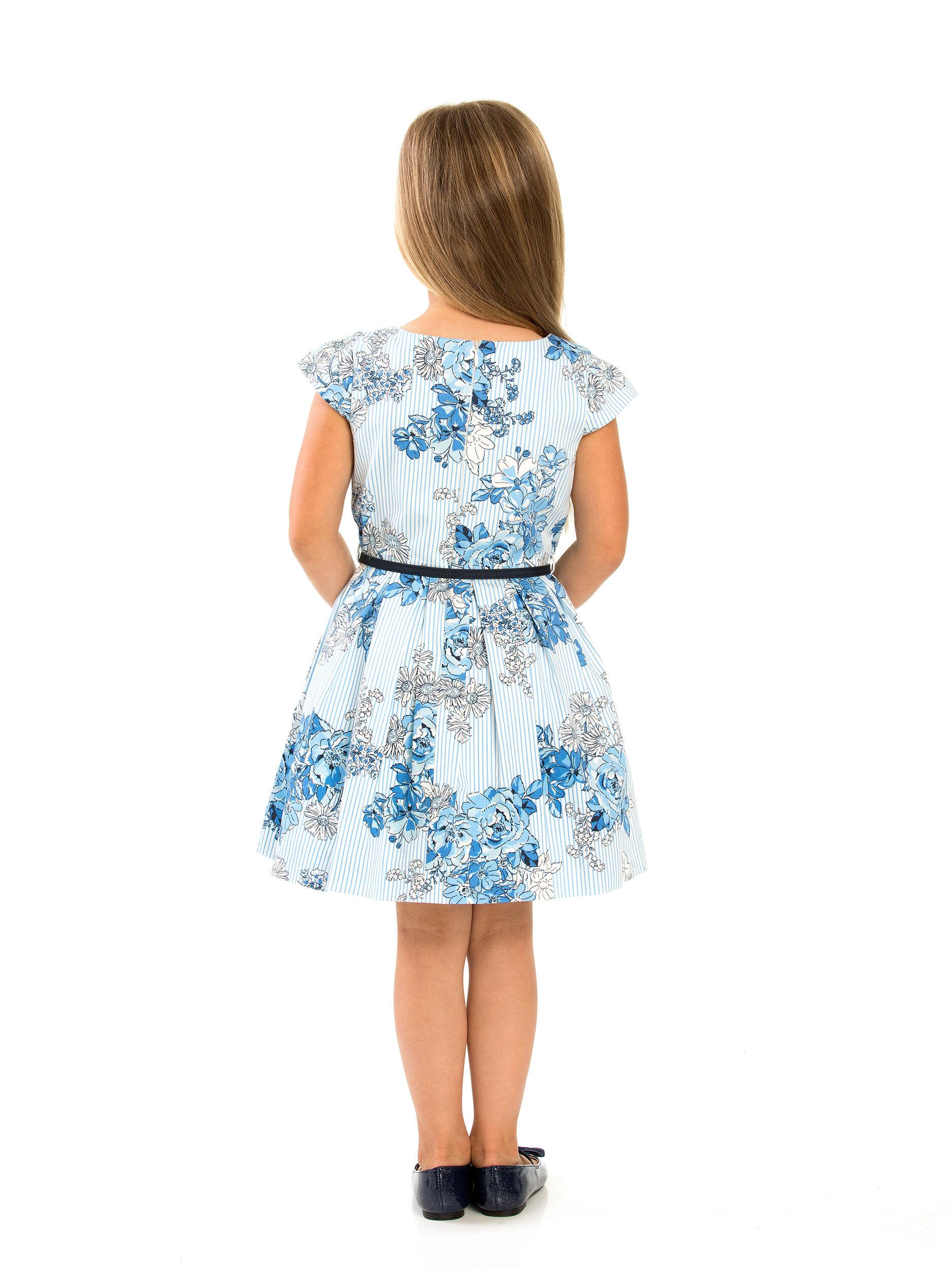 3-7 Girls Floral Pleat Dobby Dress